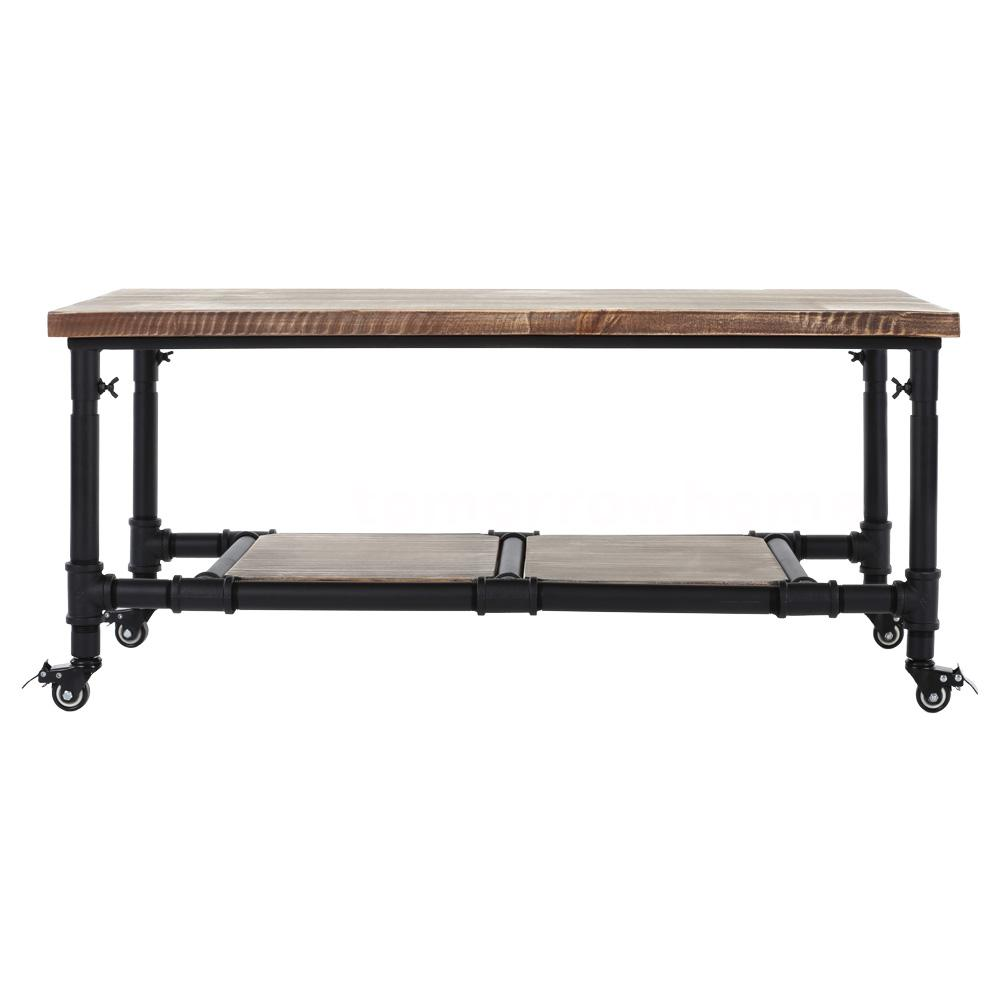 Industrial Cocktail Tea Coffee Table Metal Wood Top Living Room Furniture Y0q6 Ebay