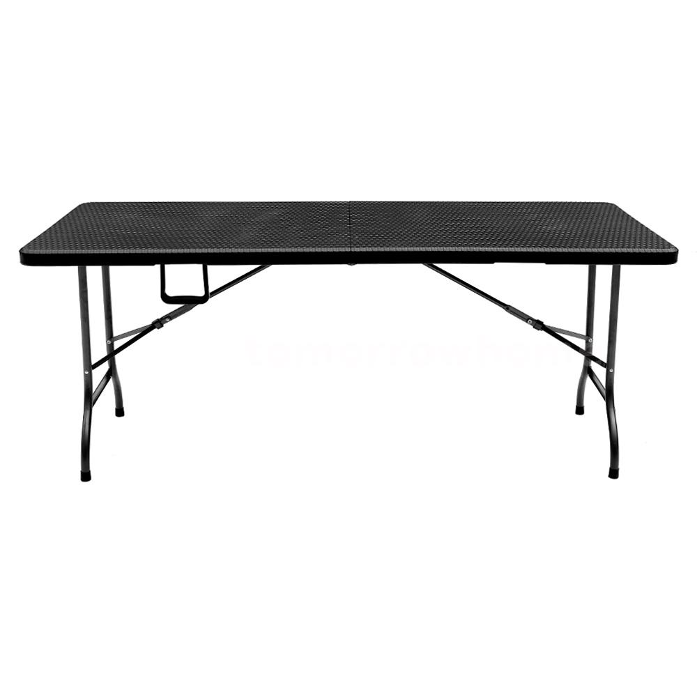 Black Folding Table 6Ft Outdoor Picnic Camping Portable Indoor