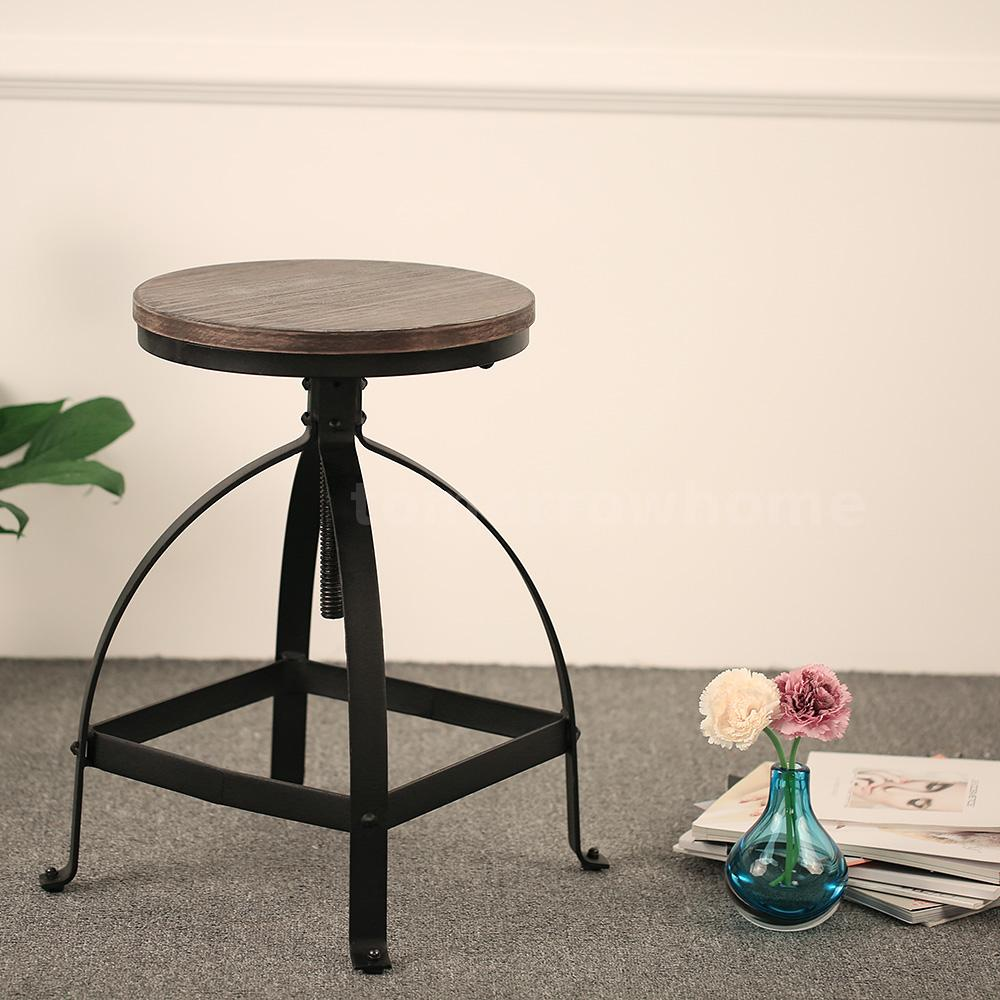 Round Bar Stool Industrial Metal Design Wood Top Chair