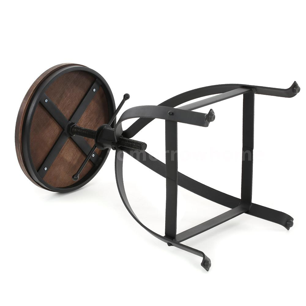 Round Bar Stool Industrial Metal Design Wood Top Chair