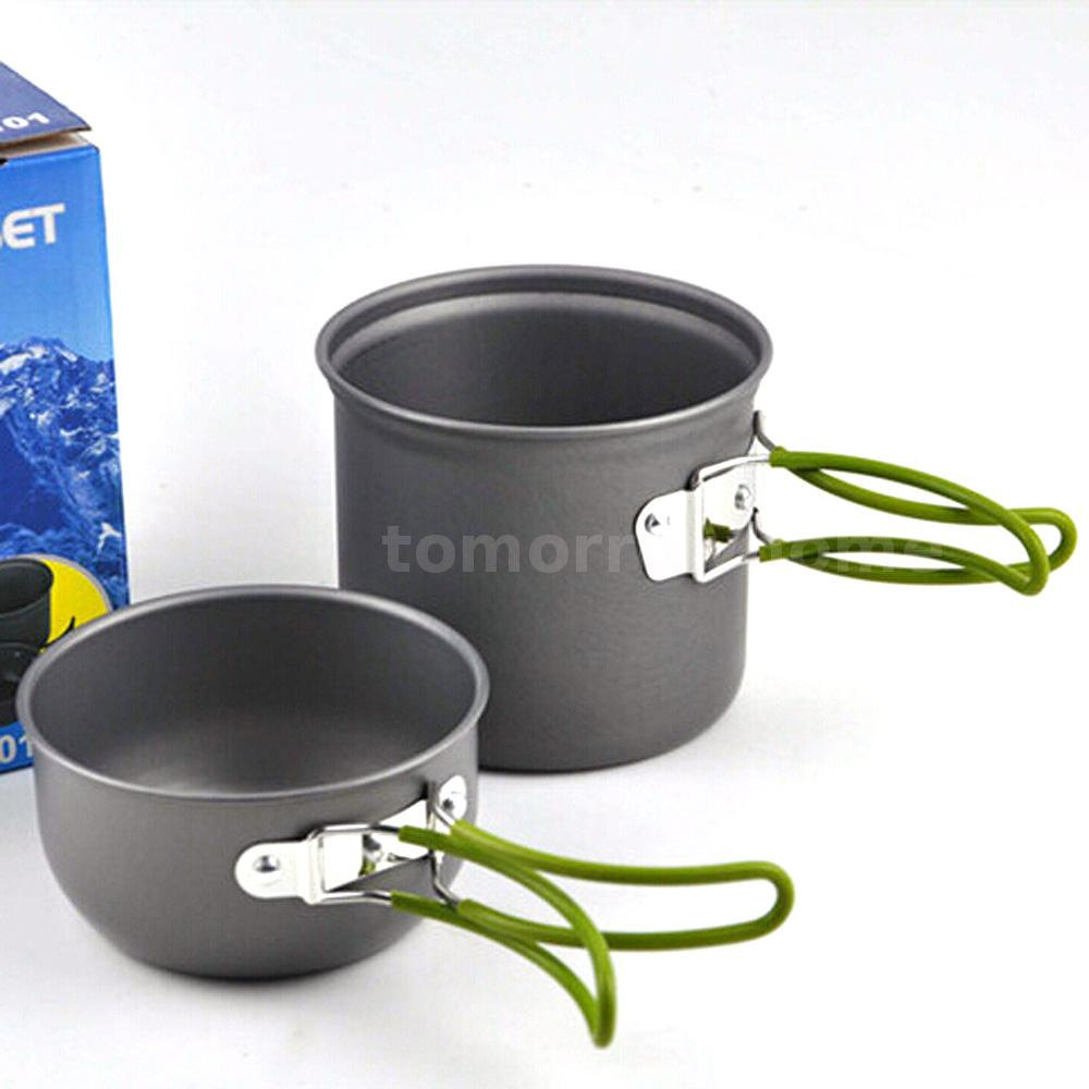 Ultralight outdoor cooking set aluminum pot bowl cookware for Cuisine aluminium