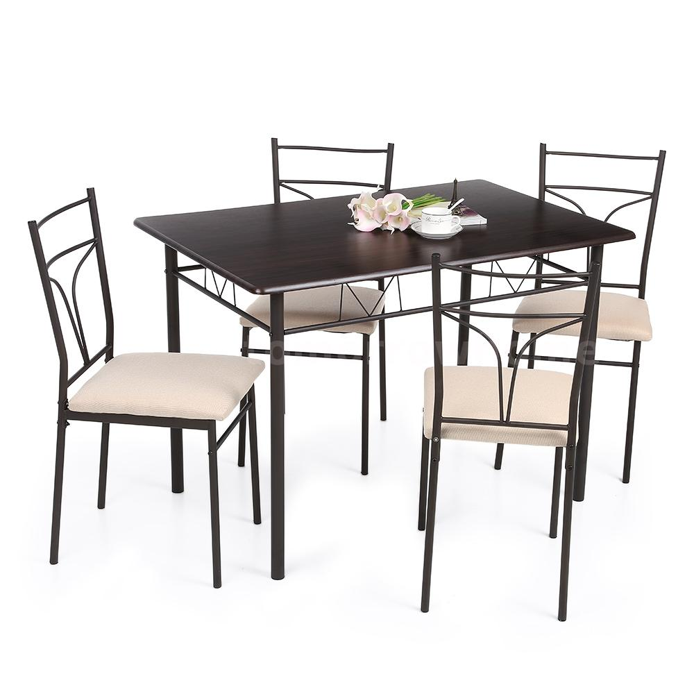 Modern 5 piece dining table set 4 chairs metal frame for 4 dining room chairs ebay