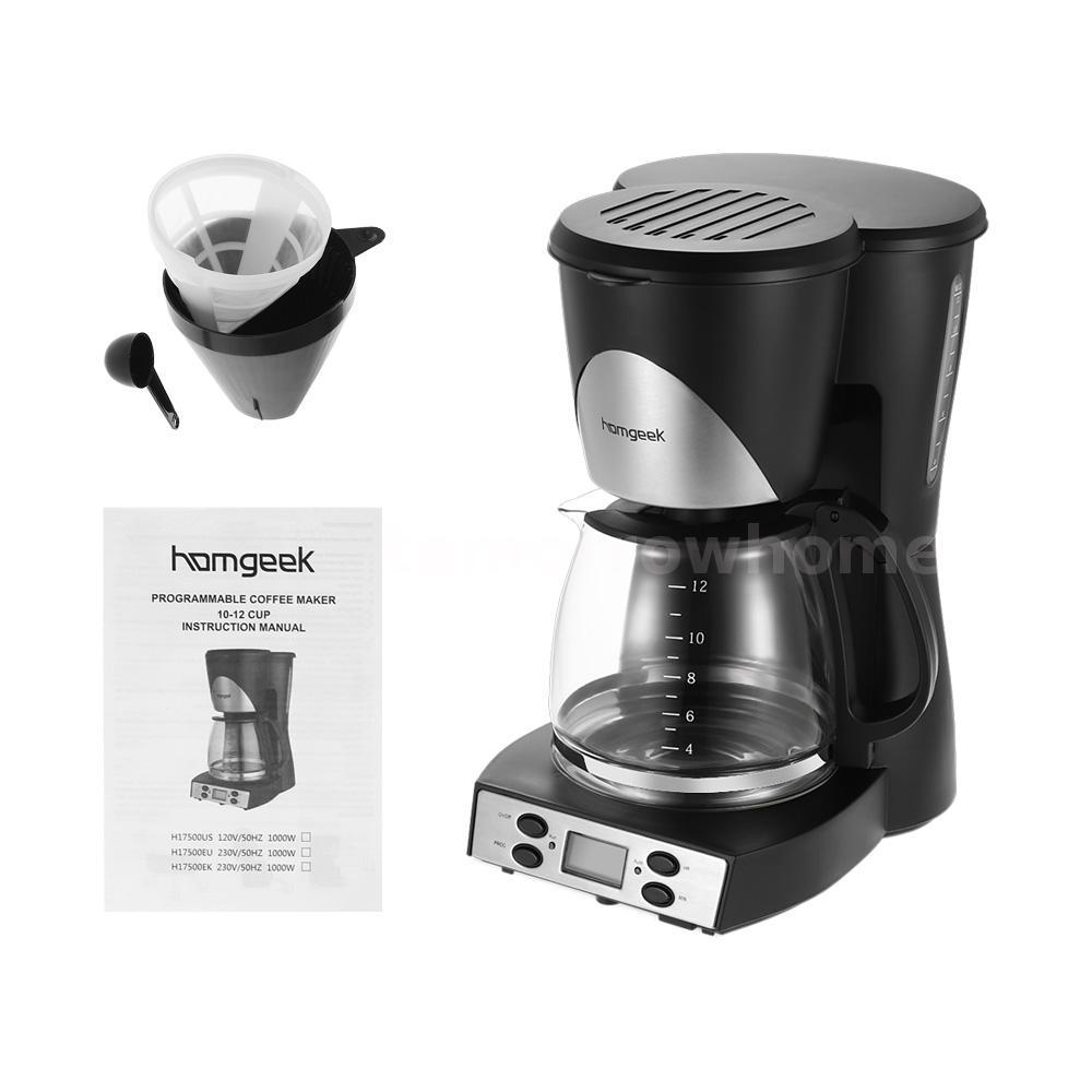1.5L Coffee Maker 12Cups Programmable Coffeemaker Machine + Coffee Carafe U8S0