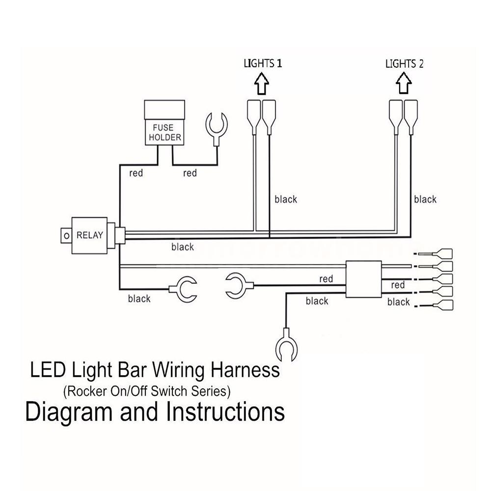 Universal LED Light Bar Rocker On/Off Switch 40A Relay Wiring ...
