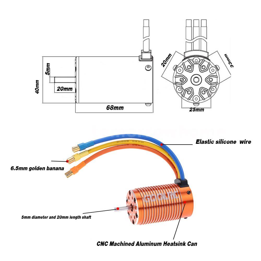 GoolRC 4068 2050KV Sensorless Brushless Motor for 1 8 RC
